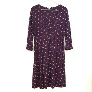 Garnet Hill Purple Floral Midi Dress